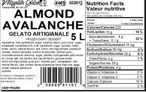 Almond Avalanche Gelato Nutrition - Cedarbrook Bakery
