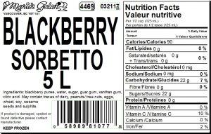 Blackberry Gelato Nutrition - Cedarbrook Bakery