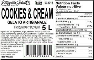 Cookies Cream Gelato Nutrition - Cedarbrook Bakery