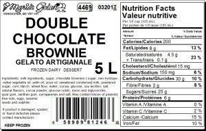 Double Chocolate Brownie Gelato Nutrition - Cedarbrook Bakery