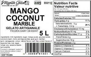 Mango Coconut Marble Gelato Nutrition - Cedarbrook Bakery