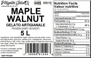 Maple Walnut Gelato Nutrition - Cedarbrook Bakery