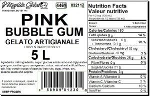 Pink Bubble Gum Gelato Nutrition - Cedarbrook Bakery