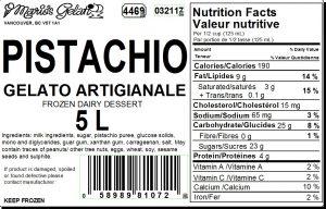 Pistachio Gelato Nutrition - Cedarbrook Bakery