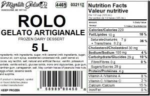 Rolo Gelato Nutrition - Cedarbrook Bakery