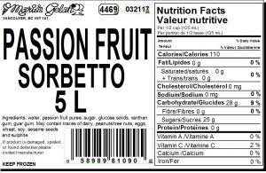 Passion Fruit Gelato Nutrition - Cedarbrook Bakery